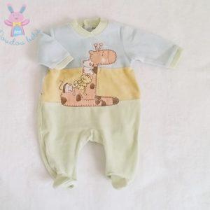 Pyjama velours pastel girafe bébé garçon 1 MOIS