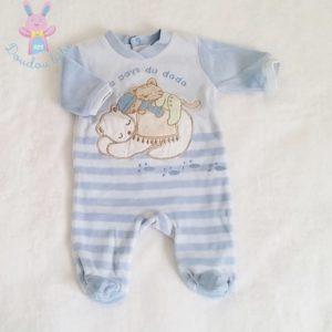 "Pyjama velours bleu ""Au pays du dodo"" bébé garçon Naissance"