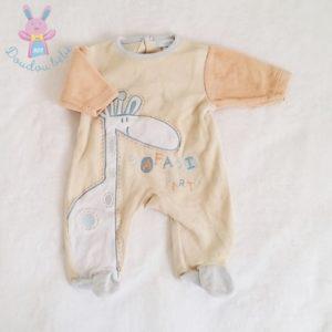 Pyjama velours beige girafe bébé garçon NAISSANCE