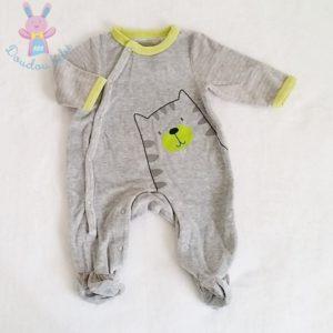 Pyjama velours gris Chat bébé garçon 1 MOIS PREMAMAN
