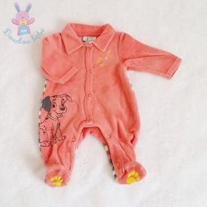 Pyjama velours saumon et rayé Dalmatien bébé garçon NAISSANCE DISNEY