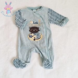 Pyjama velours bleu bébé garçon 0 MOIS
