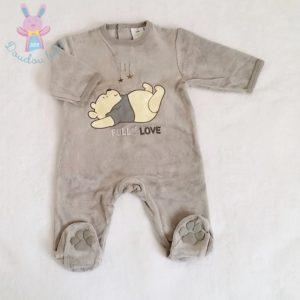 Pyjama velours gris Winnie bébé garçon 1/3 MOIS DISNEY