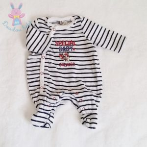 Pyjama velours rayé bleu blanc bébé garçon 0 MOIS ORCHESTRA