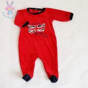 Pyjama velours rouge London bébé garçon 0/1 MOIS