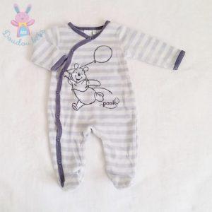 Pyjama velours rayé bleu Winnie bébé garçon 1 MOIS DISNEY