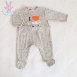 "Pyjama velours gris ""I love mummy"" bébé garçon 1 MOIS"