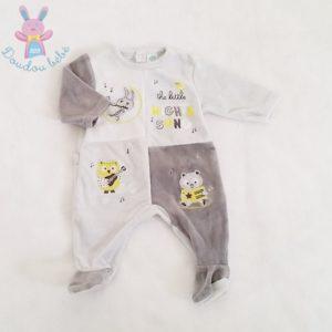 Pyjama velours blanc gris bébé garçon 1 MOIS