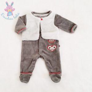 Pyjama velours et polaire gris bébé garçon 1 MOIS OBAIBI