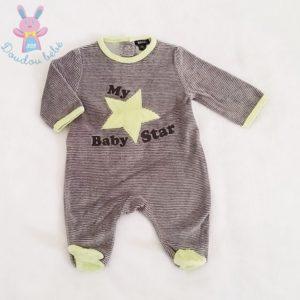 """Pyjama velours rayé gris """"My baby star"""" bébé garçon 1 MOIS"""