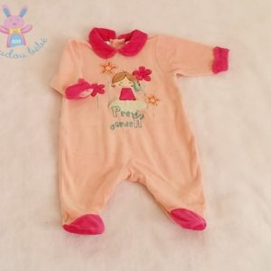 "Pyjama velours saumon rose ""Pretty garden"" bébé fille 1 MOIS"