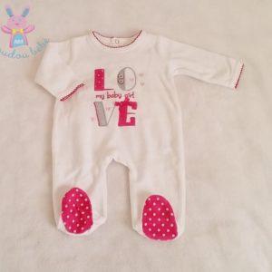 Pyjama velours blanc fuchsia LOVE bébé fille 1 MOIS