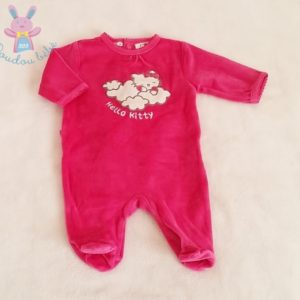 Pyjama velours fuchsia Hello Kitty bébé fille 1 MOIS