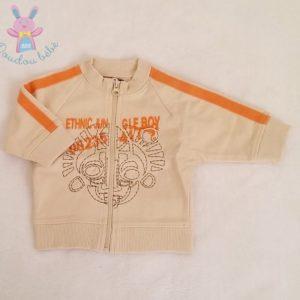 Sweat beige orange zippé bébé garçon 3 MOIS TOUT COMPTE FAIT