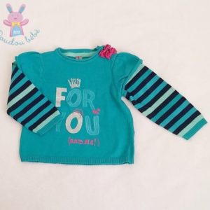 "Pull turquoise mailles ""For you and me"" bébé fille 12 MOIS ORCHESTRA"