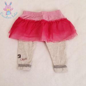 Legging/jupe gris et tulle rose bébé fille 12 MOIS CHIPIE