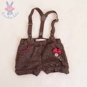 Short à bretelles taupe chiné bébé fille 12 MOIS