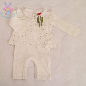 Combinaison blanche et fantaisie BIO bébé fille 3 MOIS