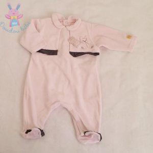 """Pyjama velours rose et gris """"chut je dors"""" bébé fille 3 MOIS"""
