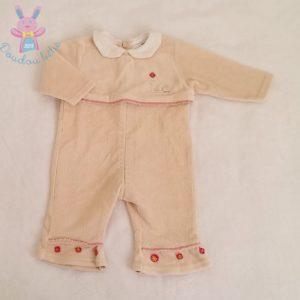 Combinaison velours beige bébé fille 3 MOIS ABSORBA