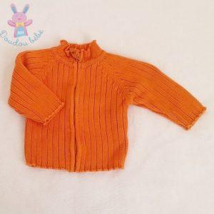 Gilet orange mailles zippé bébé garçon 3 MOIS