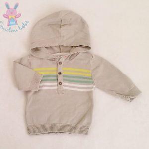 Pull léger gris à capuche mailles bébé garçon 3 MOIS