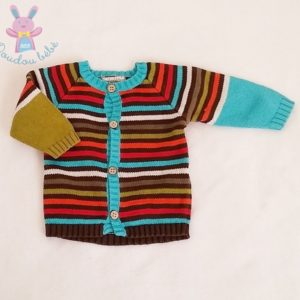 Gilet rayé multicolore mailles bébé garçon 3 MOIS ORCHESTRA