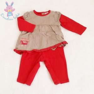 Combinaison rouge robe beige à pois bébé fille 6 MOIS AUBISOU