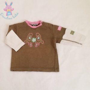 T-shirt kaki blanc rose bébé fille 6 MOIS ORCHESTRA