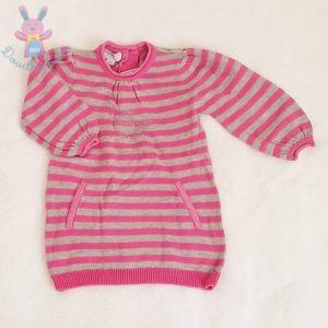 Robe mailles rayé rose gris bébé fille 6 MOIS