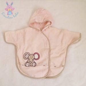 Poncho à capuche éponge rose Nina Kenza bébé fille 6/18 MOIS NOUKIE'S