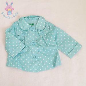 Parka turquoise à pois blancs bébé fille 6 MOIS BENETTON