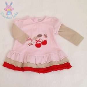 Robe à volants rose cerises bébé fille 6 MOIS