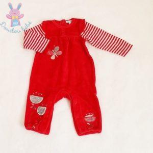 Combinaison velours rouge et rayé bébé fille 6 MOIS PREMAMAN