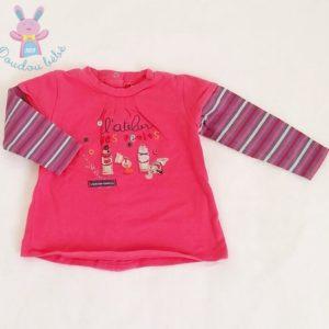T-shirt rose et rayé bébé fille 6 MOIS ABSORBA