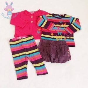 Ensemble 4 pièces Jupe T-shirt Legging Gilet bébé fille 6 MOIS
