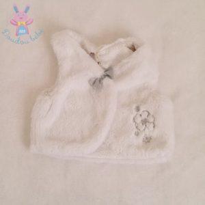 Gilet sans manches fourrure blanc bébé fille 6 MOIS ORCHESTRA