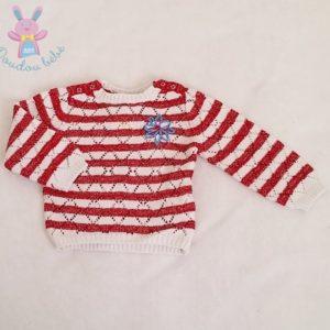 Pull rouge blanc mailles ajourées bébé fille 6 MOIS ORCHESTRA