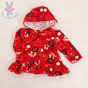 Gilet polaire à capuche rouge à fleurs bébé fille 6 MOIS