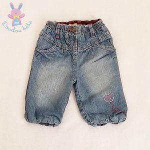 Pantalon jean bleu doublé délavé bébé fille 6 MOIS ORCHESTRA