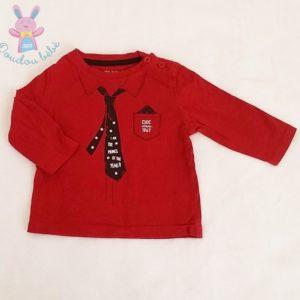 T-shirt cravate bordeaux bébé garçon 6 MOIS