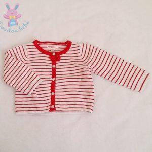 Gilet rayé rouge et blanc mailles bébé fille 9 MOIS DPAM