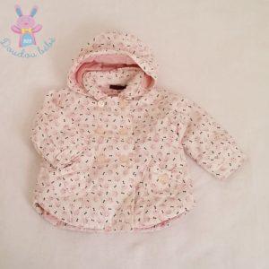 Blouson blanc rose avec doublure bébé fille 9 MOIS SERGENT MAJOR