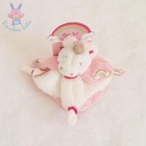 Doudou plat Licorne rose blanc arc en ciel BABY NAT