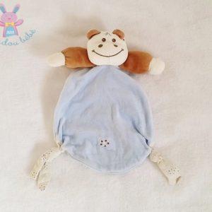 Doudou plat Hippopotame bleu marron TAKINOU