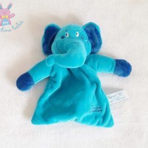 Doudou plat éléphant bleu TIAMO COLLECTION