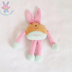 Doudou Lapin beige rose et bleu-vert TAKINOU