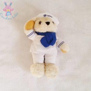Doudou Ours beige blanc bleu MSC Croisières