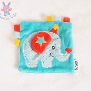 Doudou plat éléphant bleu étoiles Tinéo