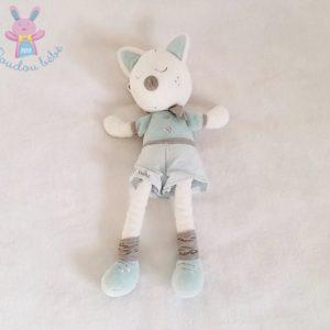 Doudou Loup Lulu bleu gris blanc SAUTHON
